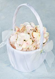 Porcelain Hydrangea Bouquet Wedding Flowergirl Basket
